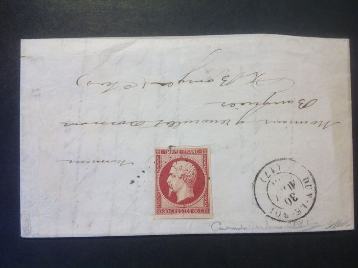 Frankreich 1855 - Rare letter from Dun-le-Roi to Bourges with a 17Ac 'Velvet Carmine' signed Calves - Maury