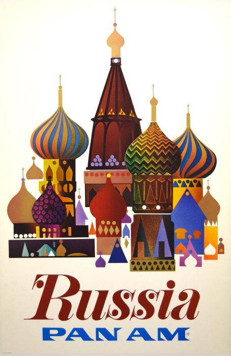 Pan Am - Airline Poster- Russia - Anni '70