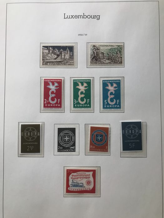 Luxembourg 1945/1977 - Collection on KABE pages and in a Lindner album