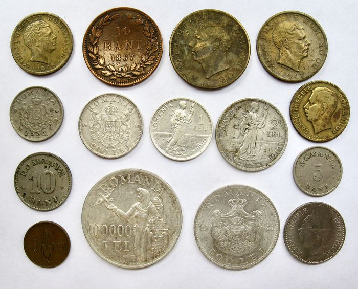 Romania. Type coin collection 5 Bani up to and including 100.000 Lei 1867/1947 (15 different coins) incl. 5 x silver