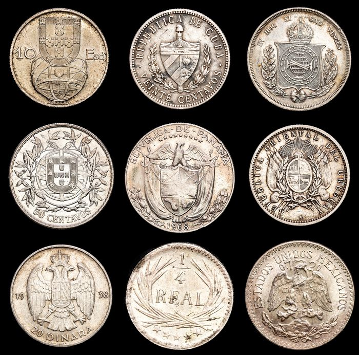 World. Lot various Worldcoins 19th-20th century (9 pieces)