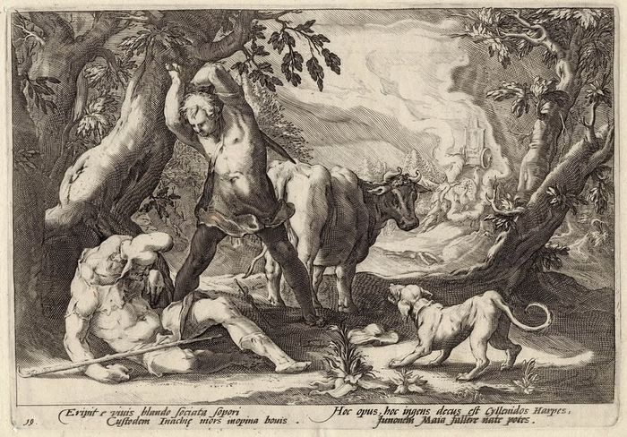 Hendrick Goltzius (1558-1607) atelier, anonymous - Mercury defeats Argus by playing him to sleep with his music.First state.