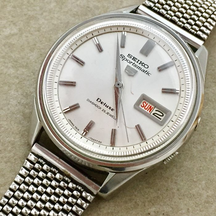 """Seiko - """"NO RESERVE PRICE"""" 5 Sportsmatic Deluxe - Fluted Inner Bezel - 7619-7010 - Uomo - 1960-1969"""