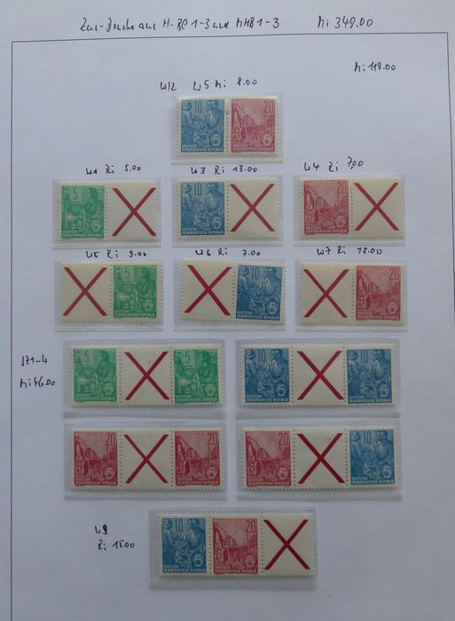 """RDA 1955/1960 - GDR """"Five-Year Plan"""" se-tenant combinations from stamp booklet sheets 1-9, MNH"""