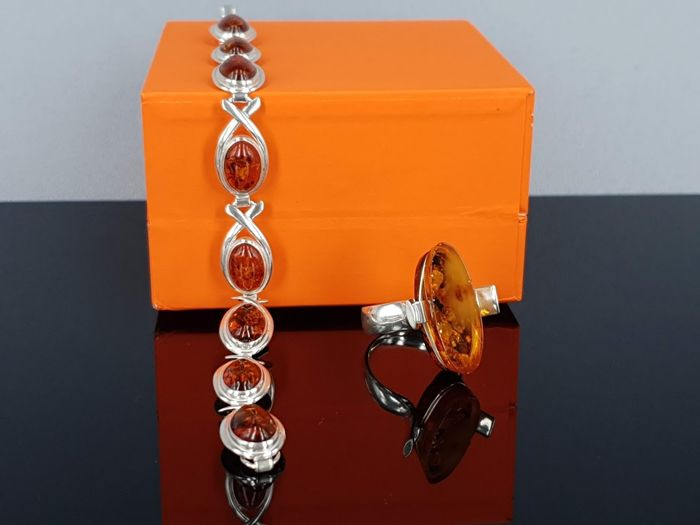 925 Amber, Zilver - Armband, Ring