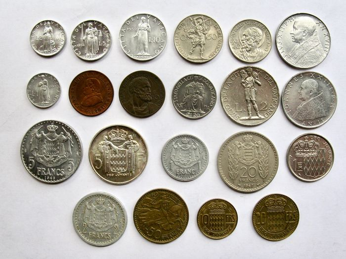 Monaco, Vaticaan. Type coin collection 1867/1960 (21 different coins) incl. 1x silver