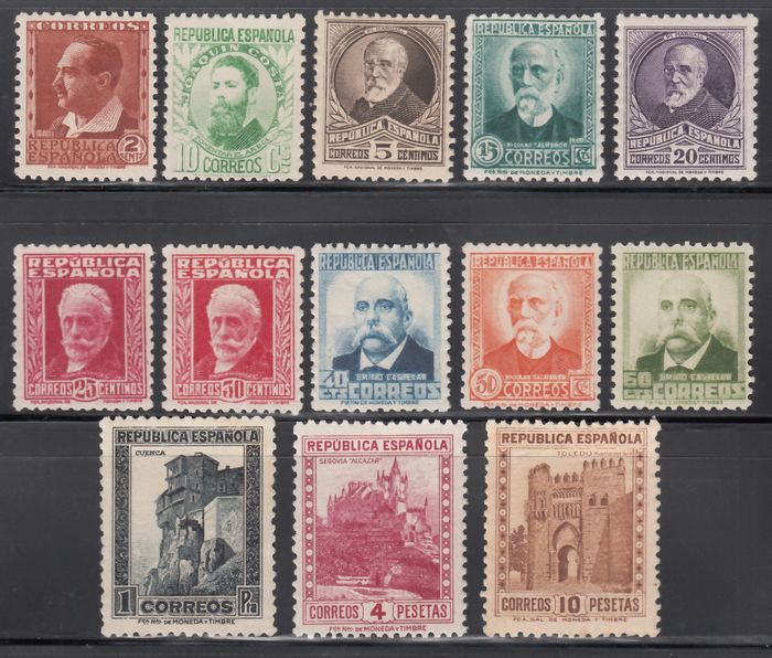 Spanien 1932 - Personalities and monuments, complete set of 13 values, well centred. 662 / 675