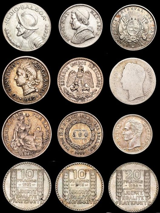 World. Lot various Worldcoins 19th-20th century (12 pieces)