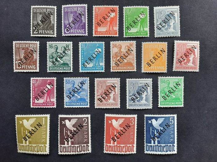 Berlin 1948 - First series with the black overprint 'BERLIN', MNH, with four inspection marks - Michel 1-20