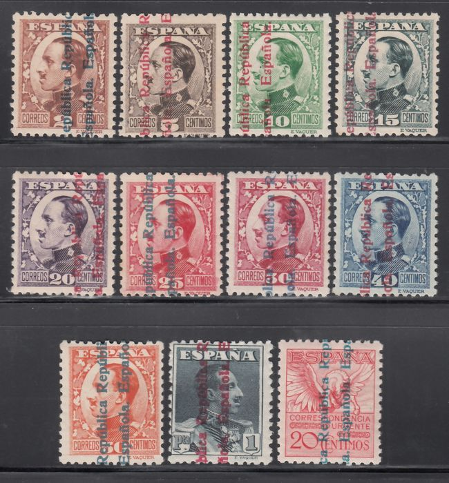 Spanje 1931 - Alfonso XIII stamps, overprinted 2nd Spanish Republic, complete set of 11 values - Edifil 593 / 603