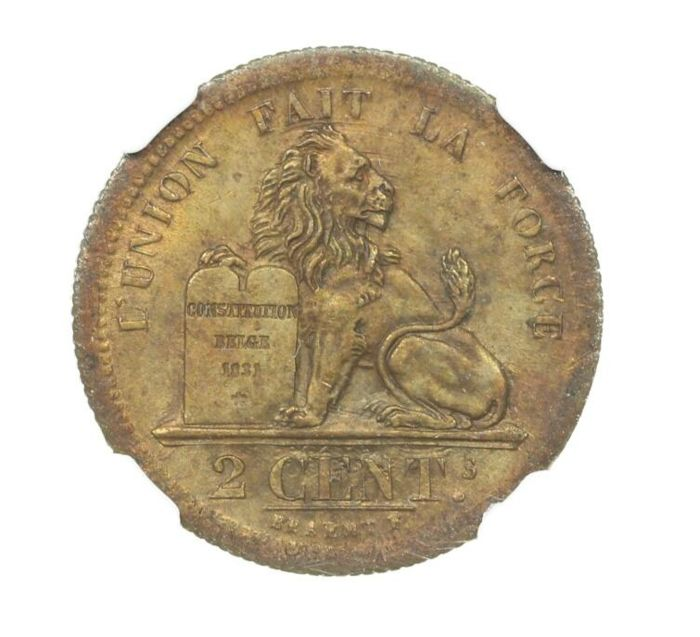 België. Leopold I (1831-1865). 2 Centimes 1833 - Coin Aligment - NGC - MS63 RB