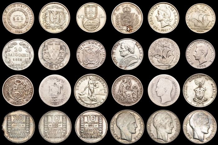 Wereld. Lot various Worldcoins 19th-20th century (12 pieces)