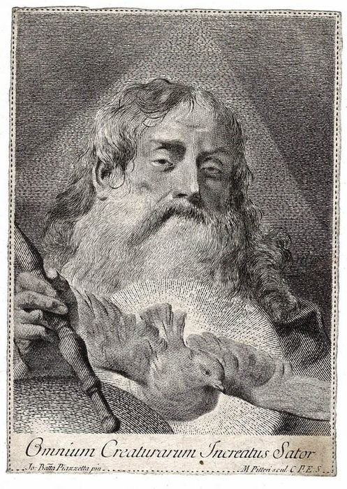 """Giovanni Baptista Piazetta (1682-1754), Marco Alvise Pitteri (1702-1786) - God the father and the holy spirit. """"Uncreated Creator of all creatures""""."""
