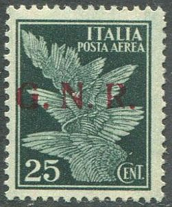 Italien 1944 - RSI - airmail 25 c. with GNR of Brescia overprint of the 2nd type. Rarity. - Sassone N. A117/II