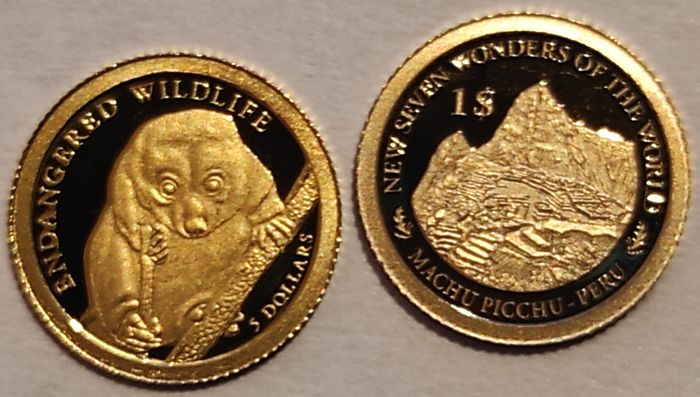 Solomon Islands. 5 Dollars + 1 Dollar. 2010 Common Spotted Cuscus - Endangered / 2013 Machu Picchu with Certificate of Authenticity