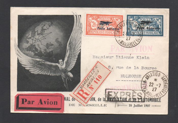 France 1927 - Airmail No. 1 and 2 on envelope from the Marseille Air Show