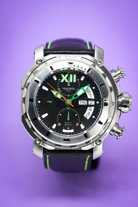 Visconti - Full Dive 500 Steel Green Tone Leather Strap - KW51-04 - 男士 - 2011至今
