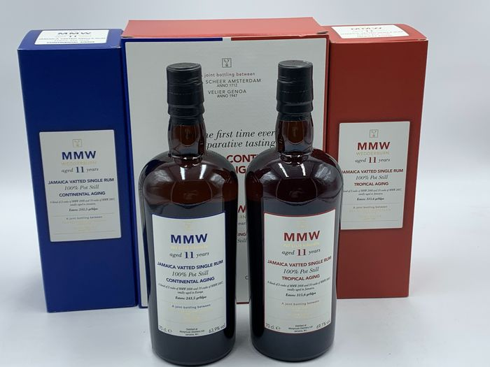 Monymusk 11 years old Continental vs. Tropical Aging - MMW Jamaica - Velier - 70cl - 2 flasker