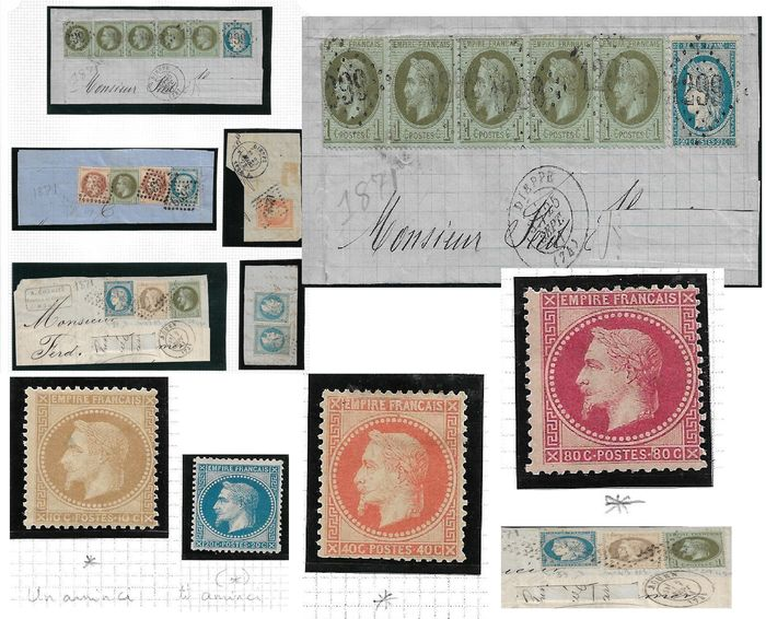 """Frankrijk 1862/1868 - A lot of Napoleon III """"lauré"""" stamps. Mint and cancelled on fragments."""