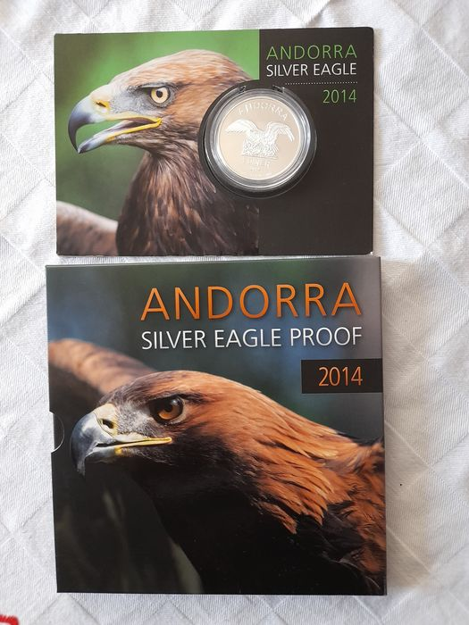 Andorra. 1 Diner 2014 Proof /BU - Silver  Eagle in coincard + Blister - 2 x 1 Oz
