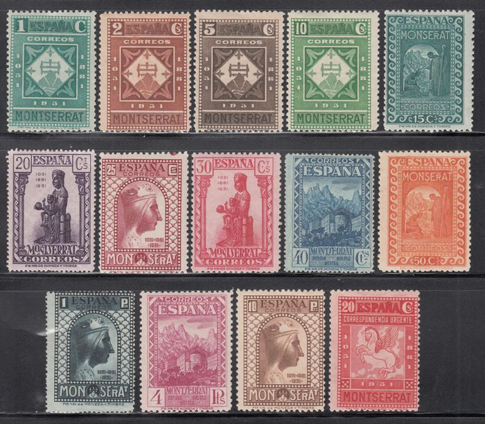 Spanien 1931 - Centennial of the Monastery of Montserrat. Complete set of 14 values - Edifil 636 / 649