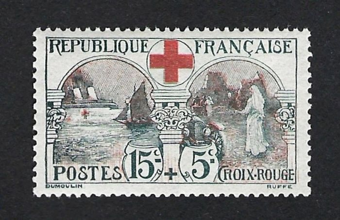 Francia 1918 - Croix Rouge hospital very well centered - Yvert Nº 156