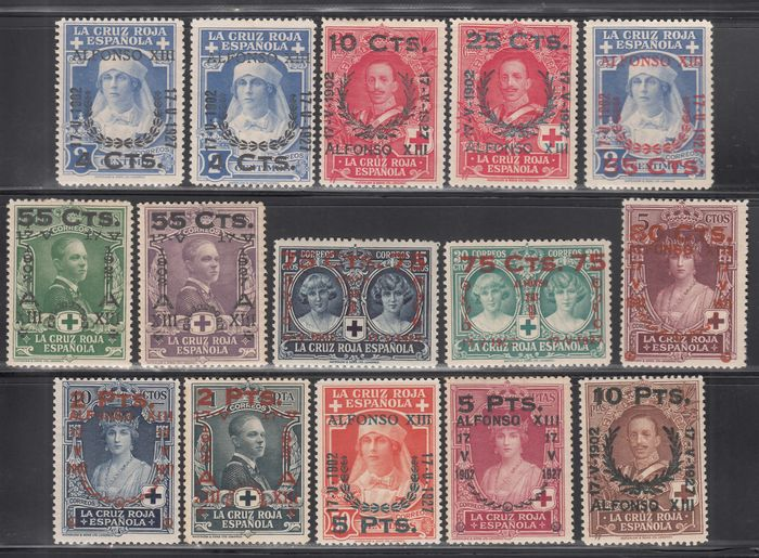 Spanje 1927 - 25th Anniversary of the Oath to the Constitution by Alfonso XIII, complete set of 15 values. - Edifil 373 / 387