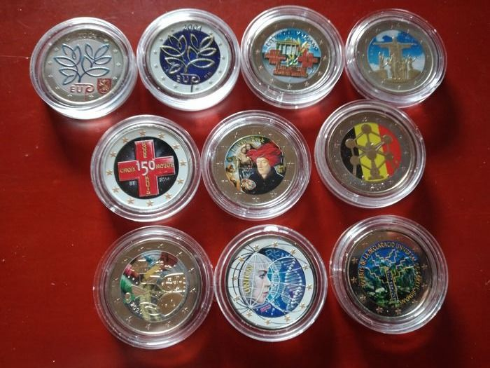Europe. 2 Euro 2004/2020  colorate (10 pieces)