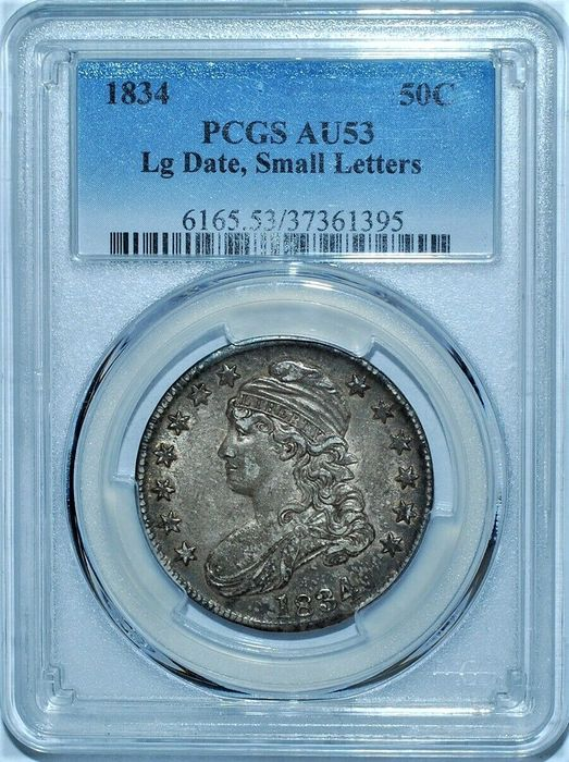 Verenigde Staten. Half Dollar 1834 Capped Bust, Large Date, Small Letters in AU53 PGCS Slab