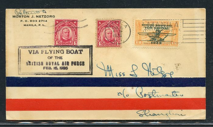 """Philippines 1936 - Letter sent to Shanghai - with """"British Royal Air Force"""""""