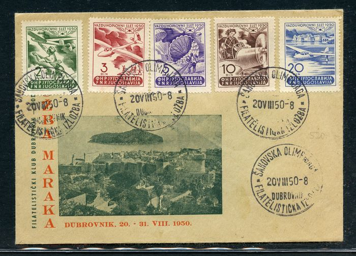 Joegoslavië 1950 - Letter with cancellations of the exhibition in Dubrovnik