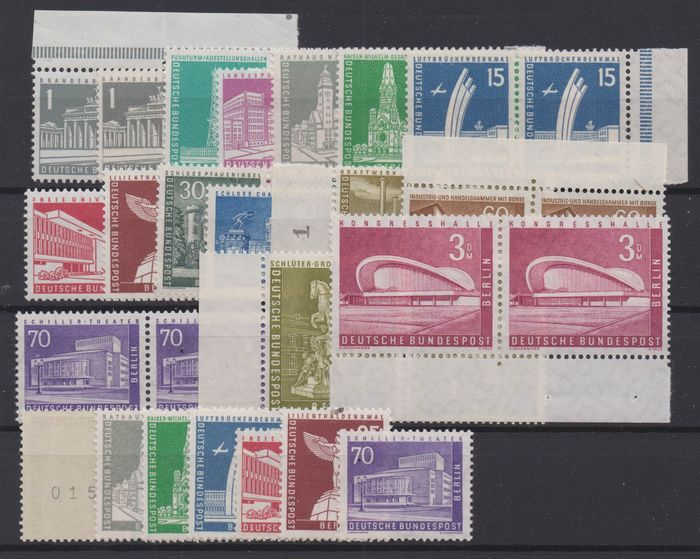 """Berlin 1956 - """"Berliner Stadtbilder"""" (Berlin Cityscapes) as horizontal sheet pairs and coil stamps with counting - Michel 140-154 (R)"""