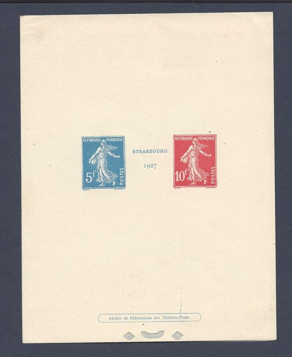 France 1927 - Strasbourg exhibition in luxury event - SUP - Certificate - Yvert BF 1
