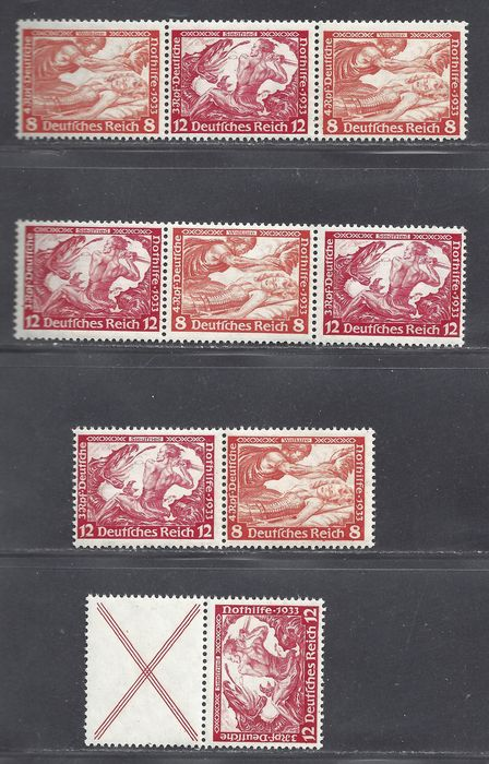 Impero tedesco 1933 - Various Wagner combinations - Michel S114, W55, W56, W58