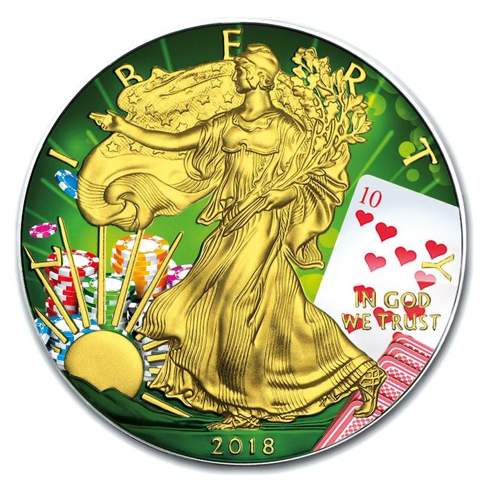 United States. 1 Dollar 2018 Silver Eagle - Poker Ten Of Hearts Color - 1 oz