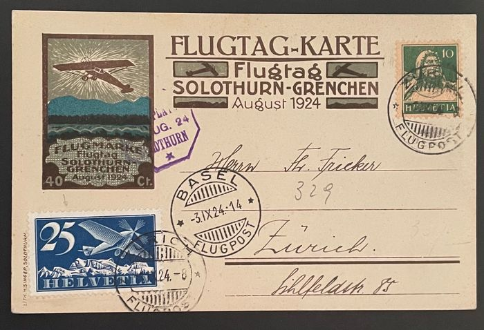 Zwitserland 1924 - Airmail postcards