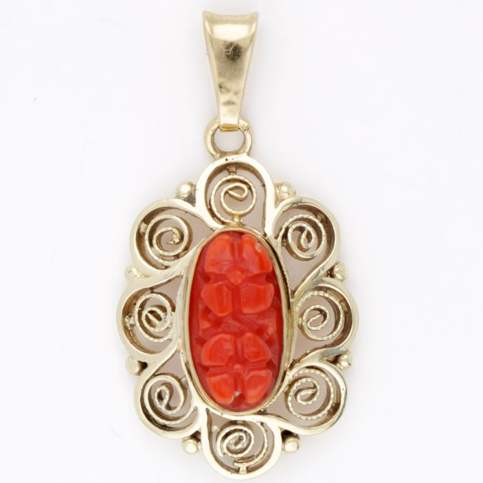 14 carats Or - Pendentif Corail rouge