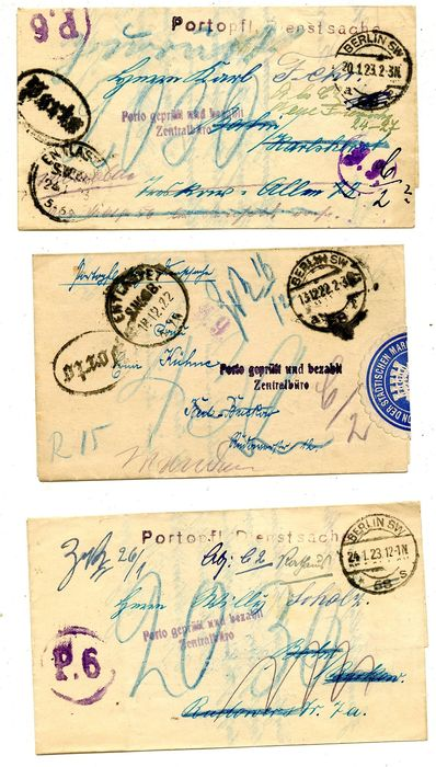 """Impero tedesco - 3 official items with the good Berlin """"Porto Entlastet"""" (Postage Disencumbered) postmark"""