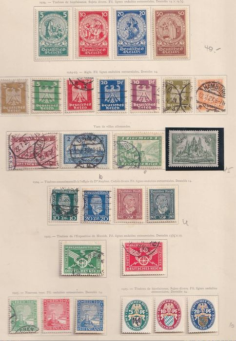 Impero tedesco 1924/1932 - VF group of complete series. - Michel entre351 & 478