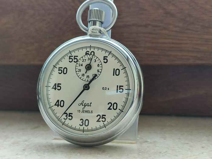 """Stopwatch """"AGAT-4282"""", mechanical single-shooter, simple action - FULL SET - Made in USSR 1988's. - Cronometro Agat - Acciaio"""
