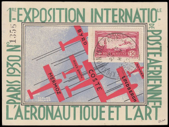"""France 1930 - Aeroplane flying over Paris, 1 franc 50 carmine, """"EIPA30"""" perforation, cancelled, on card from the - Yvert Poste aérienne 6d"""