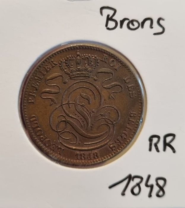 Belgium. Leopold I (1831-1865). 5 Cents 1848 variant in Brons