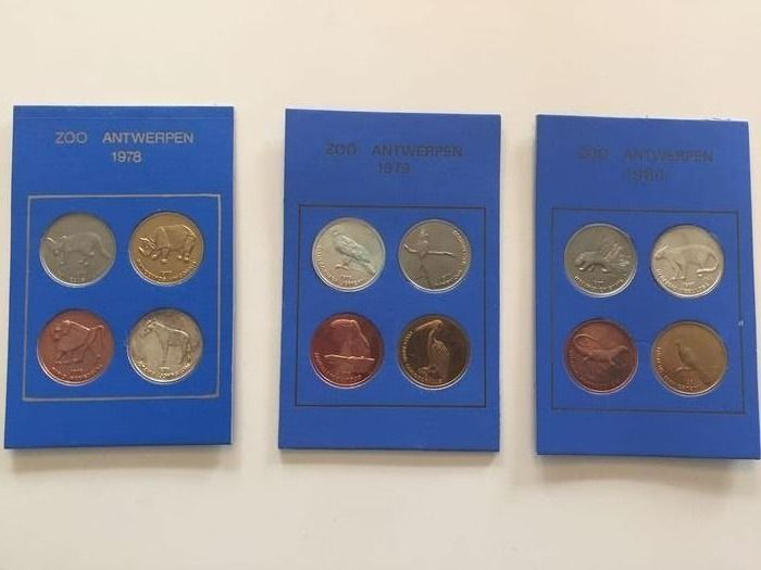 Belgium. Three sets of Entry-coins 1978, 1979 and 1980 to support the Antwerp Zoo.