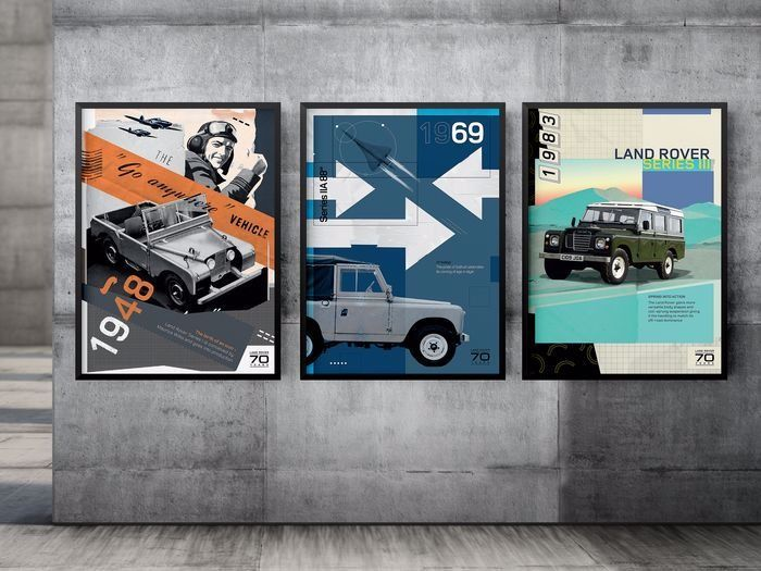 Afbeelding/illustratie - 70 Years of Land Rover History 1 - Poster pack 3 pcs - 70x50 - Land Rover