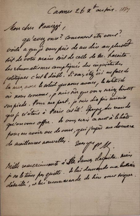 Prosper Mérimée - Autograph; Letter from Cannes and Travel to Paris in the Summer to Panizzi British Museum - 1867
