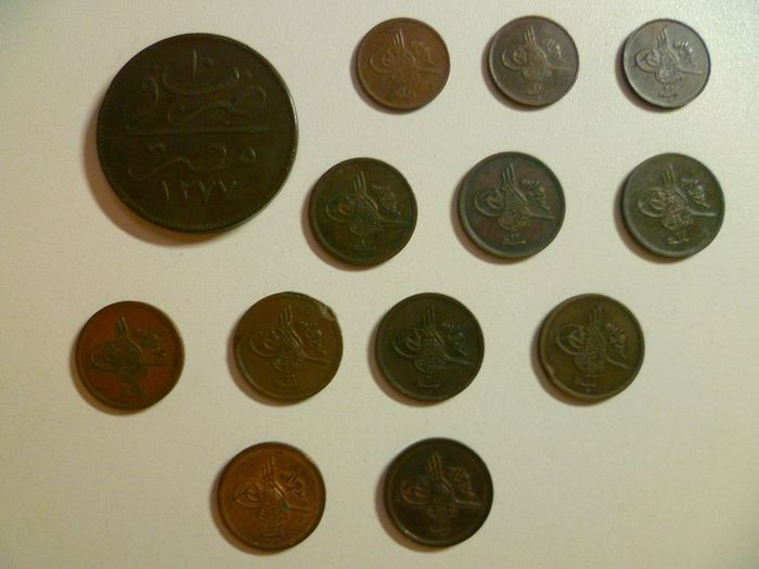 Ottoman Empire. Different denominations, Egypt, AH 1277-1327/ AD 1861-1909,  (13 coins)