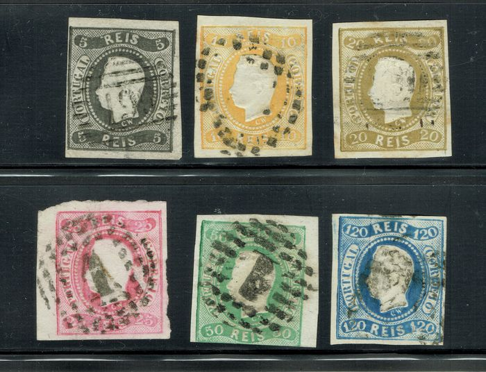 Portogallo - 1867-70; 6 stamps, 5r black, 10r yellow, 20r bister, 25r rose, 50r green, 120r blue. Cancelled. - Scott 17, 18, 19, 20, 21, 24