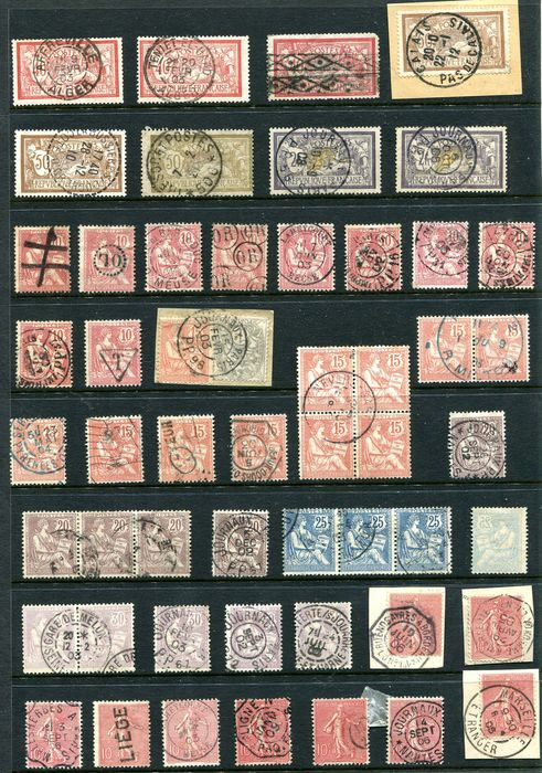 Francia - Lot of special postmark cancellations, Semeuse, Mouchon, Merson.