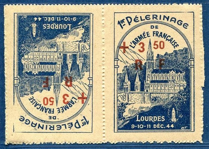 Francia - Liberation of Lourdes broken arch tête-bêche variety, listed in Mayer 2021, RARE. - mayer