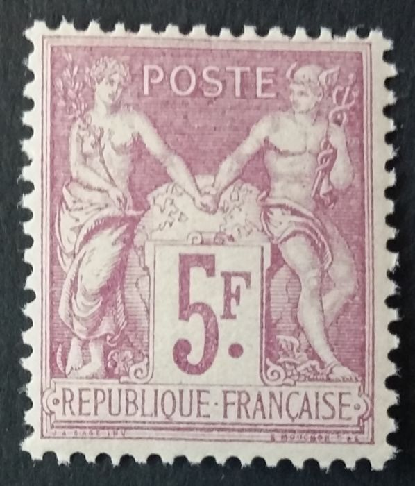 France 1877 - Sage, Type II, N under B, 5 francs lilac-pink on pale lilac. - Yvert 95a